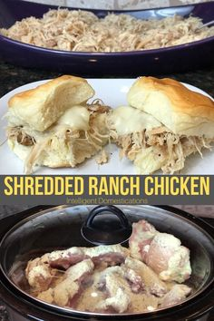 Toss frozen boneless chicken thighs into the Crockpot, season then simmer a few hours. The result is a delicious and juicy shredded chicken for sliders. Add your favorite toppings. Frozen Chicken Recipes, Chicken Thigh Recipes, Crockpot Frozen Chicken, Boneless Chicken Thighs Crockpot, Chicken Sliders, Slider Recipes, Ranch Chicken, Game Day Food, The Ranch