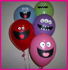 Monsters Birthday Party - could do different emotions on each balloon