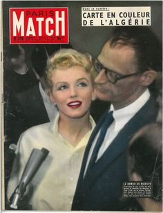 Paris Match - July 7th 1956, magazine from France. Front cover photo of Marilyn Monroe and Arthur Miller at a press conference announcing their engagement, June 1956.