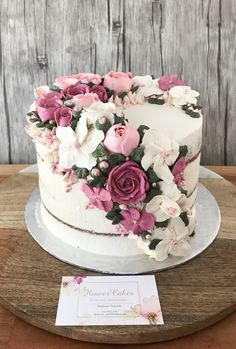 Hand made flower Buttercream flower cake , pink tone. Hand made flower Pink Birthday Cakes, Birthday Cake With Flowers, Birthday Cake Designs, Beautiful Wedding Cakes, Beautiful Cakes, Buttercream Flower Cake, Buttercream Cake Designs, Buttercream Cake Decorating, Buttercream Birthday Cake