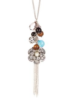Fringe Accented Charm Necklace