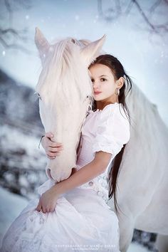 Photography by Marco Ribbe http://www.marcoribbe.de #Fashion #white #Horse #Little Girl #fantasy #Mystical