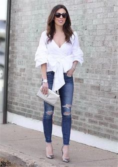 White Layered Sleeve Bow Tie Off The Shoulder Surplice Top Style Gallery Bell Sleeves, Bell Sleeve Top, Bow Tie Blouse, Surplice Top, Top P, Fashion Gallery, Off The Shoulder, Bows, Chic