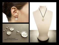 Sterling Silver Set  925  Shell Jewelry  Earrings and by KRAMIKE
