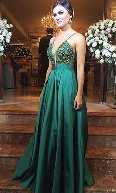Charming Dark Green Prom Dress,V-Neck Evening Dress,Spaghetti Straps Party Dress, Beaded Party Dress