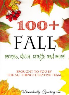 Over 100 Autumn Crafts, Recipes, Home Decor, DIY and More! Check out these great fall projects, recipes and more.