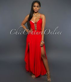Chic Couture Online - Katiana Red Slit Legs Jumpsuit,  (http://www.chiccoutureonline.com/katiana-red-slit-legs-jumpsuit/)