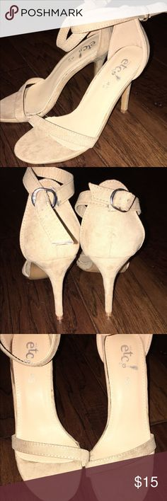 Suede Heels Never worn!! Super comfortable and cute suede like heels. They are perfect with a cute dress or jeans! Shoes Heels