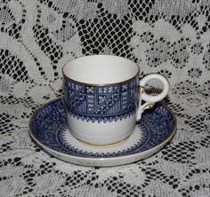 ANTIQUE ROYAL WORCESTER Blue & White PORCELAIN Chocolate DEMITASSE CUP & SAUCER #AestheticMovement #RoyalWorcester