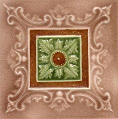 Victorian Mat Glaze Moulded 'Alanthus' Ceramic Tile