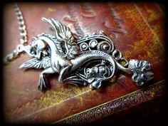 Silver Pegasus Necklace. $34.00, via Etsy.