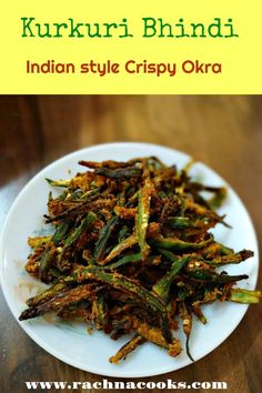 Kurkuri Bhindi UP Style Crispy Okra UP Style Made in Airfryer is part of Indian food recipes vegetarian Crispy ladyfingers with tangy, spicy masala airfried Goes great as a munchie or side dish i - Indian Snacks, Indian Food Recipes, Indian Appetizers, Fish Recipes, Kitchen Recipes, Cooking Recipes, Vegetarian Cooking, Indian Vegetarian Recipes, Drink Recipes