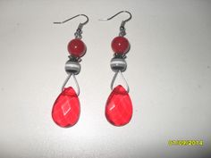 Black white and red tear drop earrings