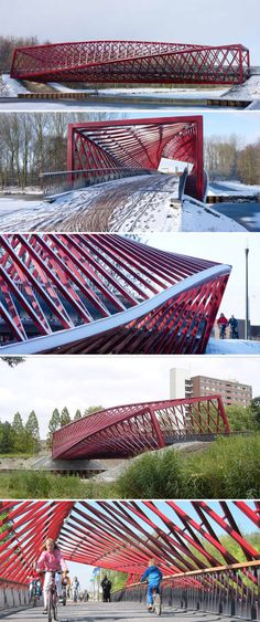 nning roughly 42 meters, this bicycle and pedestrian bridge called 'The Twist' bridge for its contorted and sculptural lines, connects the Holy-Zuid district and the Broekpolder over Vlaardingse Vaart in The Netherlands. Designed by West 8 Architects with structural engineers ABT, the bright red bridge makes for a lovely and striking surprise in the natural green setting. Photos © Jeroen Musch