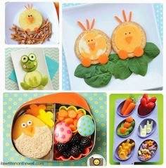 Chicks and birds, Frogs and food for kids lunches. So much fun! See all 32 food ideas