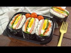 Asian Tofu Recipes, Spam Recipes, Ethnic Recipes, Rice Sandwich, Sushi, Great Lunch Ideas, Onigirazu, Sandwiches, Picnic Lunches
