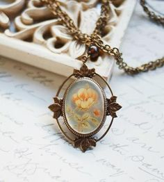 Vintage Yellow Rose Cameo Necklace by Botanical Bird on Scoutmob Shoppe