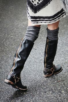 I've been searching for tall black boots- I like the buckles and zippers on these.  I want a boot without a heel that isn't super shiny.  I also have larger calves, so I need a boot that will give some space.