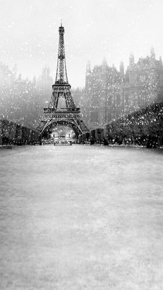 Set in scenic Paris, this backdrop features the Eiffel Tower. In black and white, this lovely scene is perfect for any winter occasion.