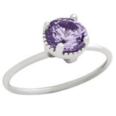 Rhodium Plated June Birthstone Alexandrite Light Purple Round Cz Ring