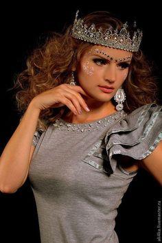 """Купить Хрустальная корона """"Елизавета"""" - серебряный, корона, корона для фотосессии, корона большая, королева"""