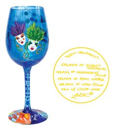 "Lolita Wine Glass ""New Orleans"" GLS11-5511M Hand Painted wine Glass"
