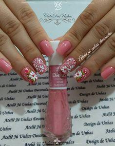 Pink Nail Art, Flower Nails, Manicure And Pedicure, Skin Makeup, Diy Nails, Summer Nails, Hair And Nails, Nail Art Designs, Nail Polish