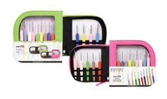 New! Knitter's Pride Waves Crochet hooks sets - choose from green or pink case; each set contains 9 color-coded aluminum hooks with soft feel handle