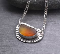Sunset Sea Glass Necklace Amber Orange English Sea Glass