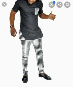 Nigerian men fashion - black and white with stripes senator wear for men short sleeved and trimmed fitted African Wear Styles For Men, African Shirts For Men, African Dresses Men, African Attire For Men, African Clothing For Men, Latest African Fashion Dresses, Nigerian Men Fashion, Indian Men Fashion, Mens Fashion