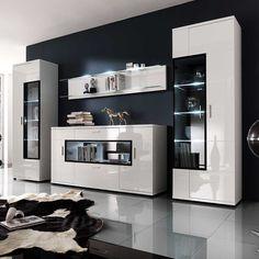 Wohnwand In Hochglanz Weiß Glas (4-teilig) Wohnzimmerschrank ... Wohnzimmer Weis Hochglanz