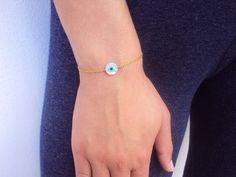 Gold Evil Eye Bracelet Evil Eye Charm Birthday by VasiaAccessories