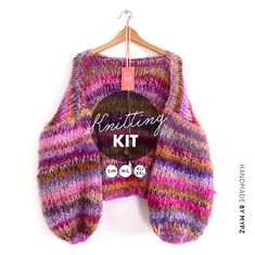 MYPZ-knitting-kit-Chunky-mohair-pullover-Ibiza Knitting Kits, Knitting Patterns, Knitwear, Cardigans, Sweaters, Ibiza, Handmade, Pullover, Luxury