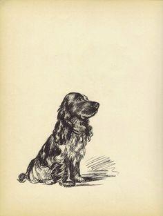 BLACK+SPANIEL+1930s+Vintage+Dog+Print+Art+by+HucksterHaven+on+Etsy,+$15.00