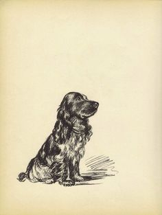 BLACK+SPANIEL+1930s+Vintage+Dog+Print+Art+by+HucksterHaven+on+Etsy,+$15.00