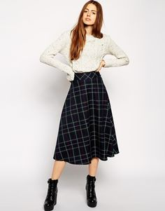 ASOS Midi Skirt In Plaid  Print