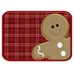 Gingerbread Man ITH Mug Rug - Applique Embroidery Design - 3 sizes to fit4X4…