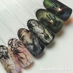 Crazy dimension in this set Theme Halloween, Halloween Nail Designs, Halloween Nail Art, Autumn Nails, Winter Nails, French Nails, Fun Nails, Pretty Nails, Deer Nails