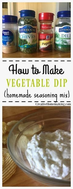 Recipe for making an easy vegetable dip mix for homemade dip for chip or fresh vegetables. Recipe for making an easy vegetable dip mix for homemade dip for chip or fresh vegetables. Homemade Chip Dip, Homemade Dry Mixes, Homemade Spices, Homemade Seasonings, Homemade Vegetable Dip Recipe, Homemade Dips For Chips, Homemade Butter, Homemade Recipe, Soup Mixes