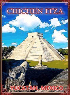 Yucatan-Chichen-Itza-Mexico-Mexican-Pyramid-Travel-Advertisement-Art-Poster