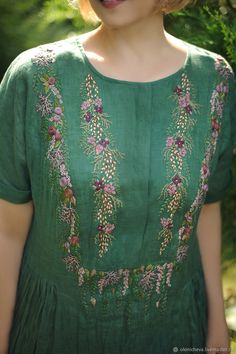 "Linen embroidered dress ""Emerald"" long dress made of linen – заказать на Ярмарке Мастеров – J63MQCOM   Платья, Vinnitsa Embroidery Suits Punjabi, Embroidery On Kurtis, Hand Embroidery Dress, Kurti Embroidery Design, Embroidery On Clothes, Embroidery Fashion, Embroidery Patterns, Dress Neck Designs, Blouse Designs"