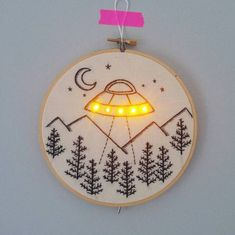 Pre-order UFO with LEDS hand embroidery hoop art wall hanging by AmaoCrafts on Etsy https://www.etsy.com/listing/533119755/pre-order-ufo-with-leds-hand-embroidery