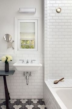 Bathroom: Beautiful White Ceramic Subway Tile Bathroom With Stunning White Bathroom Design Ideas from Beautiful Subway Tile Bathroom White Beveled Subway Tile, White Tiles, White Sink, Bad Inspiration, Bathroom Inspiration, Bathroom Renos, Bathroom Ideas, Bathroom Wall, Modern Bathroom
