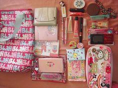 kawaii stuff inside a bag