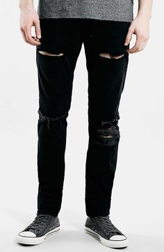 $80, Topman Destroyed Skinny Fit Jeans. Sold by Nordstrom. Click for more info: https://lookastic.com/men/shop_items/184208/redirect