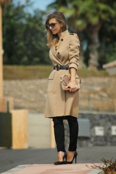 Beautiful Toffee Coat and Snake Print Bag With Black High Heels