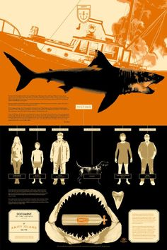 Info-Rama Film Posters by Kevin Tong, Tom Whalen, and Matt Taylor from Mondo Tom Whalen, Horror Posters, Horror Films, Dc Movies, Great Movies, Jaws Movie, Jaws Film, Jaws 2, I Love Cinema