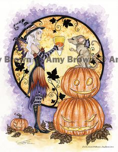Halloween Scene # 403 Fortune Teller  Pumpkins Counted Cross Stitch Pattern
