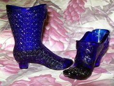 Cobalt Blue Fenton Glass Shoes Set of 2 by oldcottagevintage