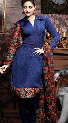 1H6102A68 Navy Blue Pure Chiffon Salwar Kameez - IndiaBazaarOnline Shopping Store - Shop with confidence